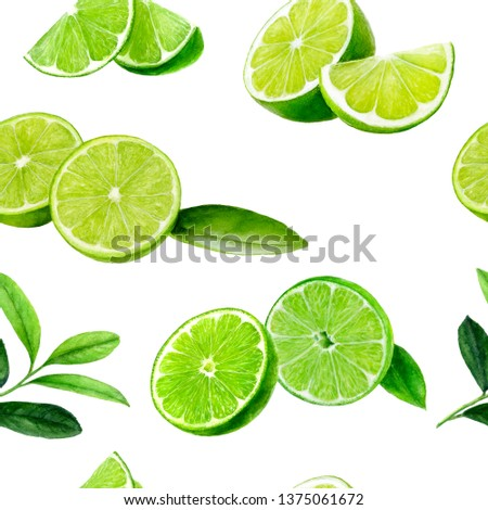Lime fruit seamless watercolor pattern. Hand draw illustration. #1375061672