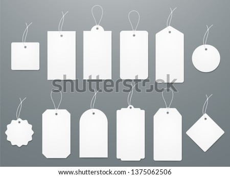 Blank white paper price tags or gift tags in different shapes. Set of labels with cord. #1375062506