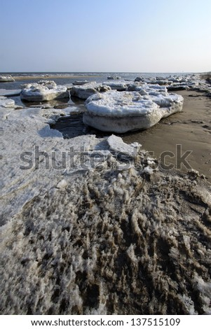frozen sandy beach natural scenery in a geological park, north china #137515109