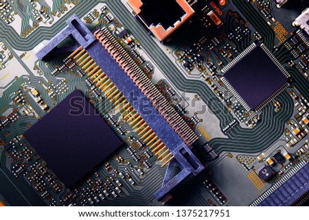 Electronic circuit board close up. #1375217951