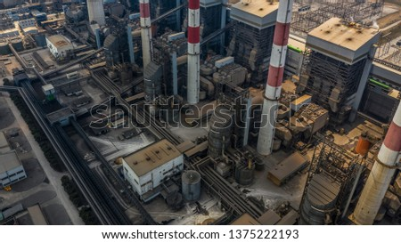 Aerial view power plant station, Industrial power plant. #1375222193