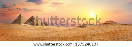 Egyptian pyramids in the desert of giza. Egypt #1375248137