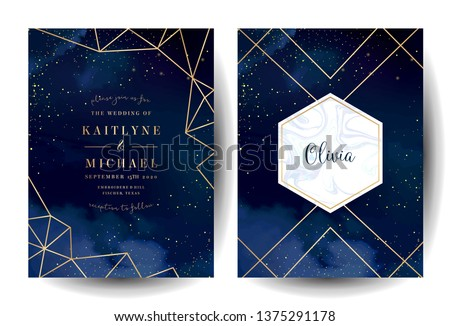 Magic night dark blue cards with sparkling glitter and line art. Diamond shaped vector wedding invitation. Gold confetti and marble navy background. Golden scattered dust. Fairytale magic templates. #1375291178