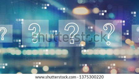 Question marks with blurred city abstract lights background