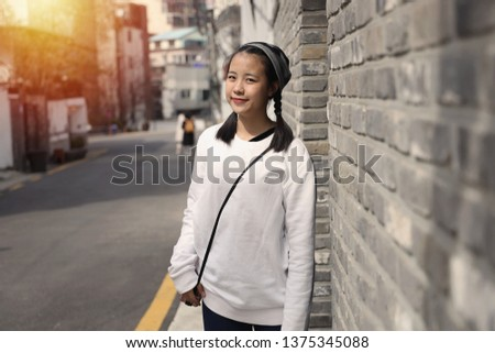 Asian girl Which is a tourist Went on holiday in South Korea And take pictures at various places #1375345088