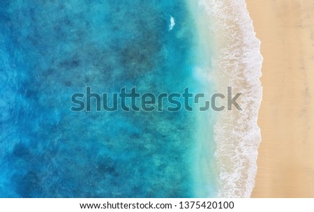 Beach as a background from top view. Turquoise water background from top view. Summer seascape from air. Bali island, Indonesia. Travel - image #1375420100