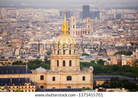 "The dome of ""Cathedral des Invalides"" and cityscape of Paris viewed above from the Montparnasse tower #1375455701"