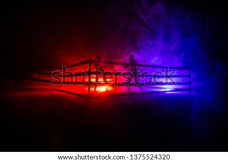 Man and woman boxing on the ring. Sport concept. Artwork decoration with toys on foggy toned dark background. #1375524320
