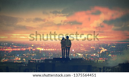 young couple standing on the roof top looking at cityscape at sunset, digital art style, illustration painting #1375564451
