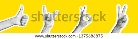 Woman's hand making a sign with fingers. Isolated image on a yellow background. Magazine collage image is black and white versions of finger symbols. #1375686875