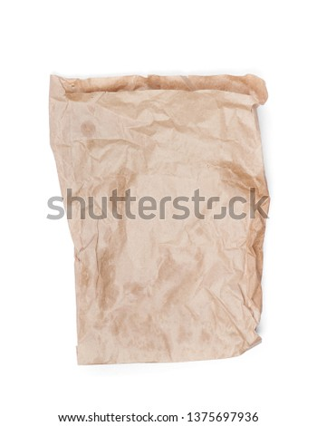 Cumpled paper bag isolated on white background #1375697936