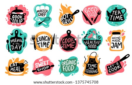 Cooking food lettering. Kitchen badge logos, baking foods typography and cook labels vector set Royalty-Free Stock Photo #1375745708