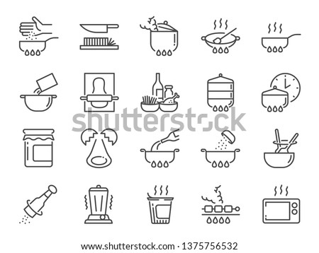 Cooking line icon set. Included icons as kitchen, Bake, Boil, BBQ, Fry, Stew and more. Royalty-Free Stock Photo #1375756532