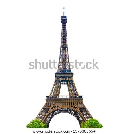 The Eiffel Tower with white background isolated. Paris, France. CLIPPING PATH. Royalty-Free Stock Photo #1375805654