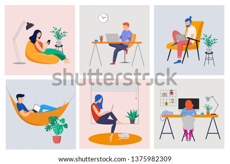 Working at home, coworking space, concept illustration. Young people, mаn and womаn freelancers working on laptops and computers at home. Vector flat style illustration Royalty-Free Stock Photo #1375982309