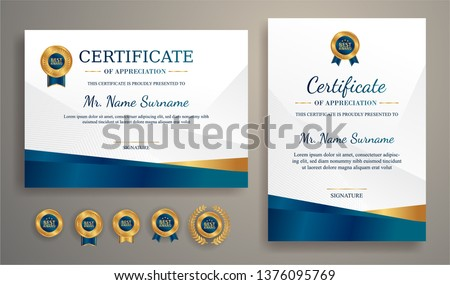 Certificate of appreciation template, gold and blue color. Clean modern certificate with gold badge. Certificate border template with luxury and modern line pattern. Diploma vector template #1376095769