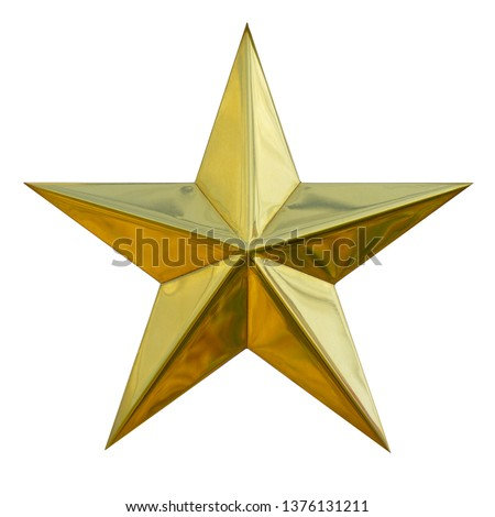 Brushed yellow metal Gold Star glossy single symbol ratting isolated on white background. This has clipping path.                              #1376131211