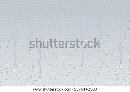 Water drops background. Shower steam condensation drips on transparent glass, rain drops on window. Vector realistic shower water drops #1376142503
