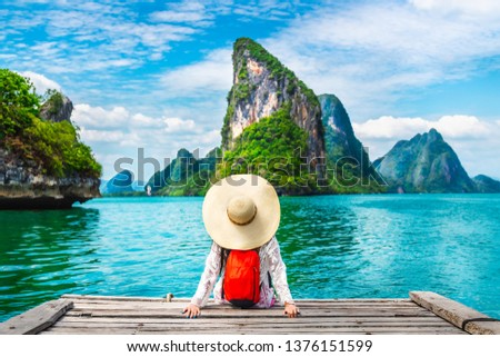 Traveler woman looking amazed nature scenic landscape tropical island Phang-Nga bay Adventure lifestyle tourist travel Phuket Thailand summer holiday vacation  Tourism beautiful destination place Asia #1376151599