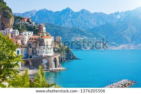 Daylight view of small city Atrani on Amalfi Coast in province of Salerno, in Campania region of Italy. Amalfi coast on Gulf of Salerno is popular travel and holyday destination in Italy. #1376205506