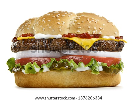 Fast food Burger, Chicken, Meat, Different type of sandwiches on a white background. #1376206334