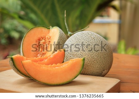 Whole and sliced of Japanese melons,honey melon or cantaloupe (Cucumis melo) on wooden table background.Favorite fruit in summer.Food,Fruits or healthcare concept. #1376235665