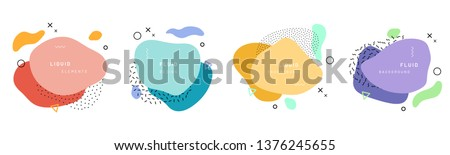 Set of isolated memphis style abstract shapes with geometric triangle and dots. Red and blue, yellow and violet texture made of shapes for minimalistic background. Template with geometric form