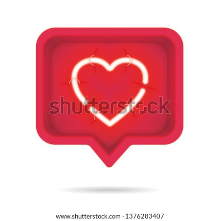 Neon hearts with on and off tubes in 3D speech bubble, vector illustration