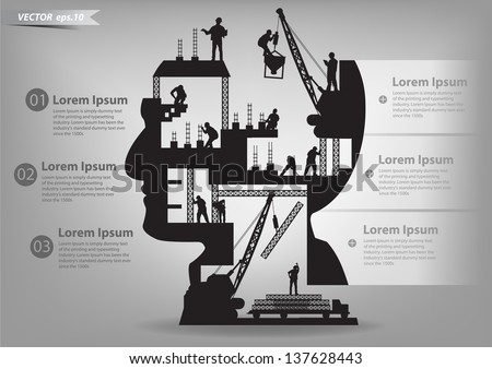Building under construction with workers in sIlhouette of a head, Vector illustration template design Royalty-Free Stock Photo #137628443