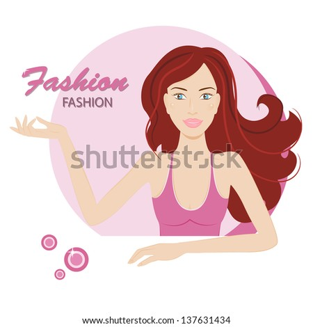 Beautiful young woman with long red hair. Vector illustration #137631434