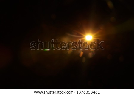 Abstract Natural Sun flare on the black #1376353481