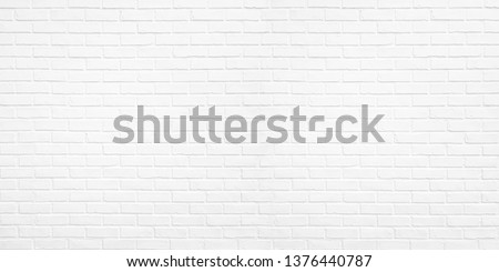 Abstract white brick wall texture for pattern background. wide panorama picture. #1376440787