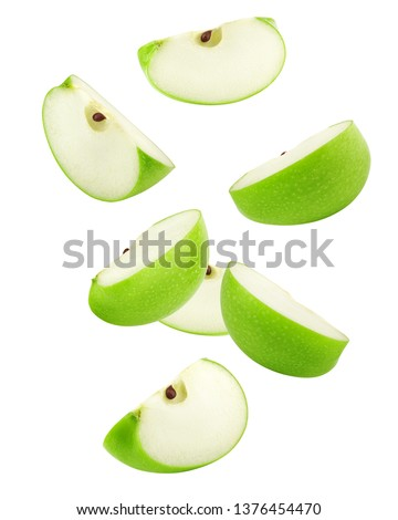 Falling green juicy apple isolated on white background, clipping path, full depth of field #1376454470