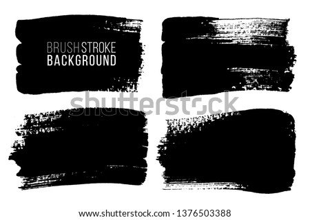 Grunge brush painted spots. Vector ink brush strokes. Distressed banners, paintbrush collection. Modern teextured rectangular shapes set. #1376503388