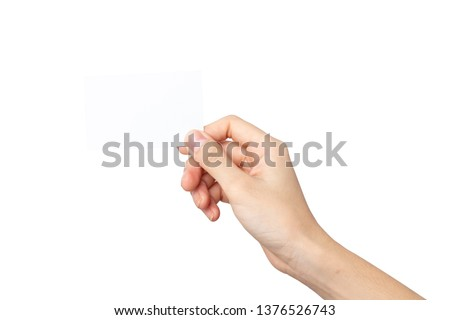 woman hand holding business card isolated on white background with clipping path #1376526743