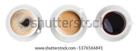 coffee cup top view set isolated Royalty-Free Stock Photo #1376566841