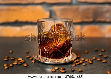 coffee old fashioned cocktail Royalty-Free Stock Photo #1376581685