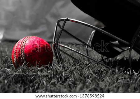 Pink cricket ball with halmet on green grass. Black and white