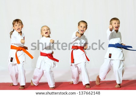 Beautiful sport karate kids Royalty-Free Stock Photo #137662148