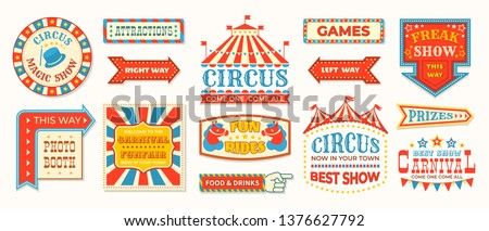 Circus labels. Carnival retro banner signs, vintage magic frames and arrows elements, welcome the show greetings. Vector circus signs logo collection #1376627792