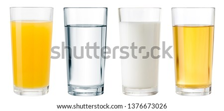 Juice, water and milk glasses isolated with clipping path included #1376673026