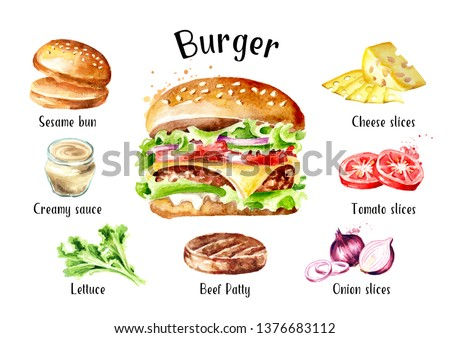 Burger with cheese and vegetables ingredients set. Watercolor hand drawn illustration, isolated on white background