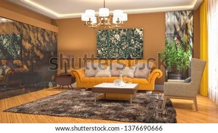 Interior of the living room. 3D illustration #1376690666