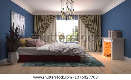 Bedroom interior. 3d illustration #1376829788