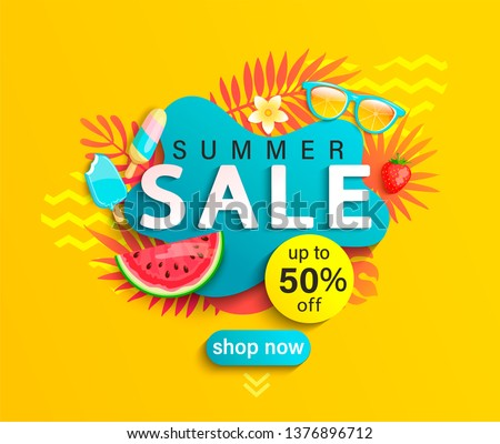 Summer Sale banner, hot season discount poster with tropical leaves,ice cream,watermelon, strawberries,and sunglasses. Invitation for shopping with 50 percent off. special offer card, template for design. #1376896712