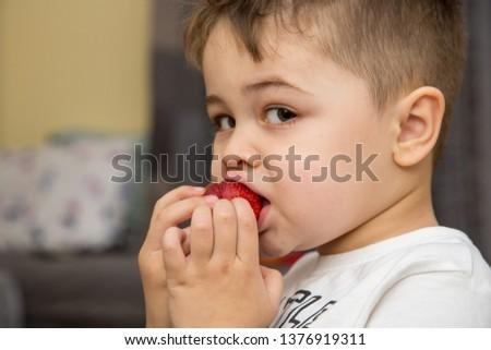 Little boy eating fresh sweet strawberries #1376919311
