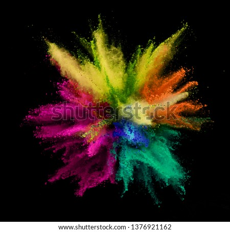 Explosion of colored powder isolated on black background. Abstract colored background #1376921162