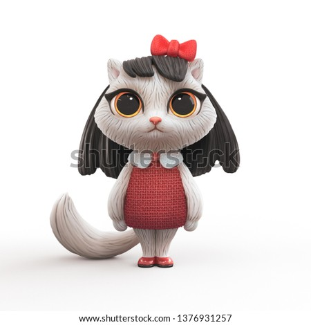 3d cartoon character of a little cute girl kitty with long black hair in red dress. Cat girl with big yellow eyes and red bow on head. Character design white fluffy cat. 3d render on white background.
