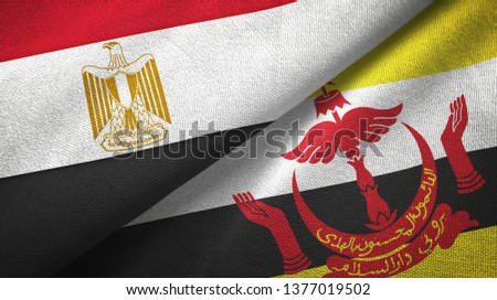 Egypt and Brunei two flags textile cloth #1377019502