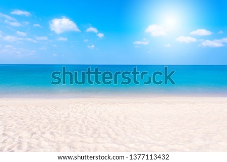 Relaxing Landscape view of white beach, clear sea and blue sky #1377113432